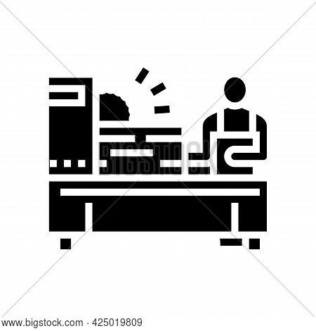 Worker Cutting Wooden Timber With Sawmill Machine Glyph Icon Vector. Worker Cutting Wooden Timber Wi
