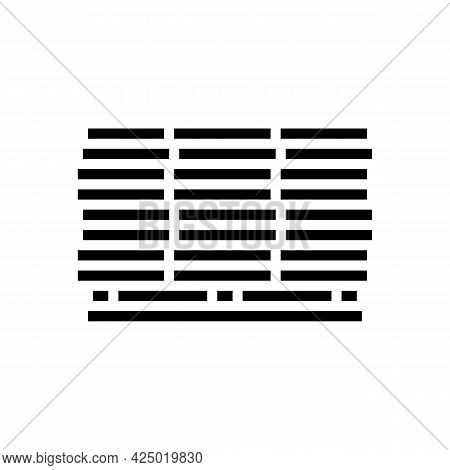 Wooden Planks On Pallet Glyph Icon Vector. Wooden Planks On Pallet Sign. Isolated Contour Symbol Bla