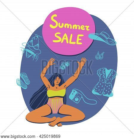 Vector Summertime Handdrawn Summer Sale Banner For Marketplace. Hand Drawn Curvy Girl In A Yoga Pose