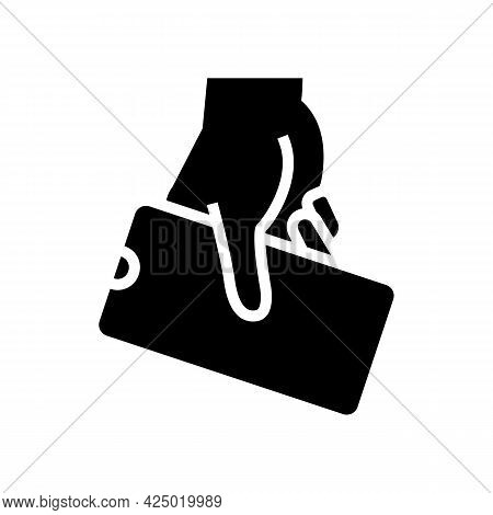Hand Hold Cellphone Glyph Icon Vector. Hand Hold Cellphone Sign. Isolated Contour Symbol Black Illus