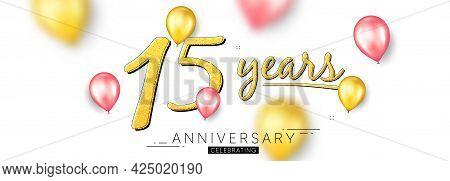 15 Years Anniversary. Happy Birthday Balloons Background. Fifteen Years Celebration Icon. Anniversar