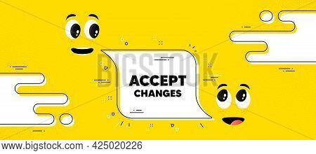 Accept Changes Motivation Message. Cartoon Face Chat Bubble Background. Motivational Slogan. Inspira