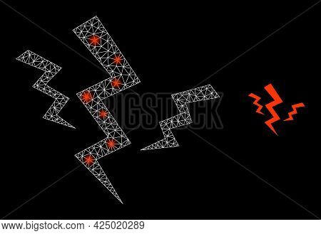 Magic Mesh Vector Crack Strikes With Glow Effect. White Mesh, Glare Spots On A Black Background With