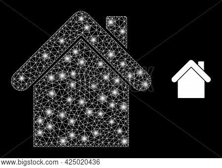 Glamour Mesh Vector Home With Glare Effect. White Mesh, Bright Spots On A Black Background With Home