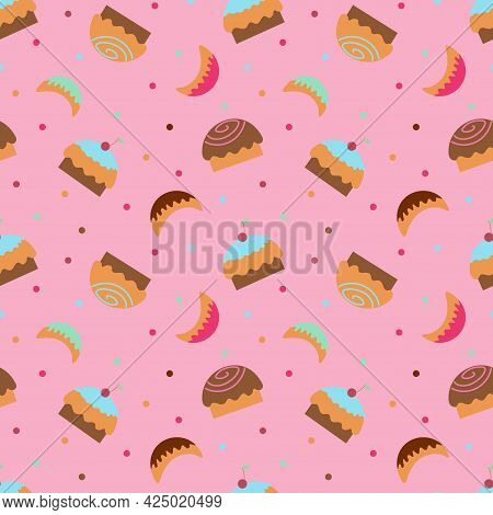 Wallpaper With Cupcakes, Sweets And Sweet Horns On A Pink Background. Textile Background With Sweets