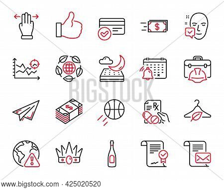 Vector Set Of Business Icons Related To Approved Agreement, Paper Plane And Payment Methods Icons. S