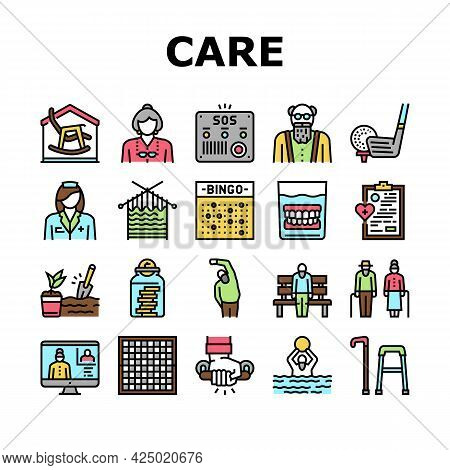Elderly People Care Collection Icons Set Vector. Golf Game And Chess Playing, Swimming Exercise And