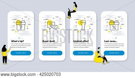 Set Of Line Icons, Such As Idea Lamp, Secret Gift, Beer Glass Icons. Ui Phone App Screens With Peopl