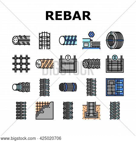 Rebar Construction Collection Icons Set Vector. Threaded And Hardened Steel Fittings, Metal And Basa
