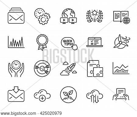 Vector Set Of Startup Rocket, Safe Time And Cloud Computing Line Icons Set. Targeting, Line Graph An