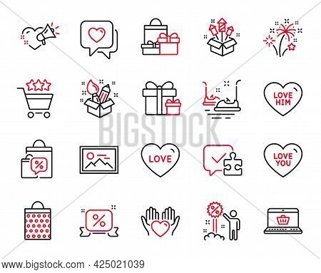 Vector Set Of Holidays Icons Related To Fireworks Rocket, Discount And Hold Heart Icons. Heart, Onli