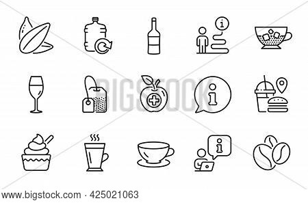 Food And Drink Icons Set. Included Icon As Ice Cream, Coffee Beans, Fast Food Signs. Latte, Wine, Wi
