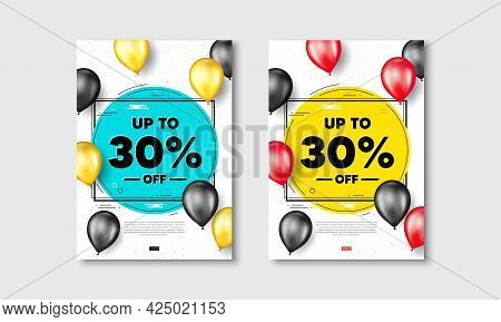 Up To 30 Percent Off Sale. Flyer Posters With Realistic Balloons Cover. Discount Offer Price Sign. S