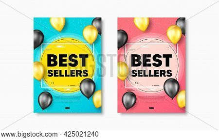 Best Sellers Text. Flyer Posters With Realistic Balloons Cover. Special Offer Price Sign. Advertisin