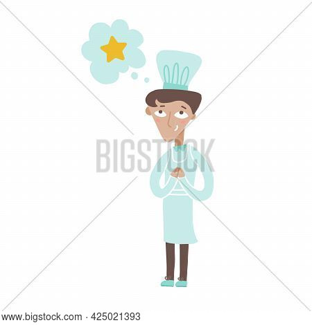 Young Chef Cook Dreamong About Star Award And Smiling. Restaurant Chief In White Uniform. Flat Vecto