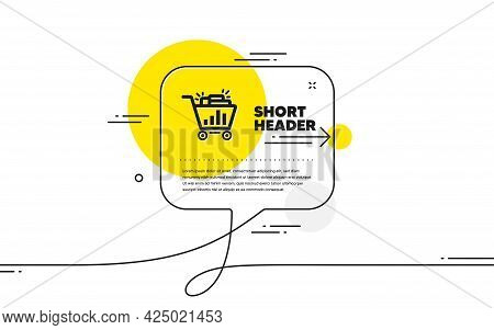 Seo Shopping Cart Icon. Continuous Line Chat Bubble Banner. Search Engine Optimization Sign. Analyti
