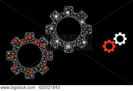 Magic Mesh Vector Gear Mechanics With Glare Effect. White Mesh, Glare Spots On A Black Background Wi