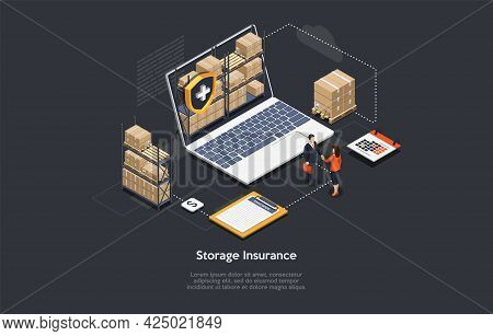 Safe Storage Insurance Contract Concept Vector Illustration With Writing. Isometric Composition, Car