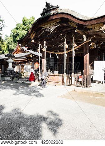 Kofu, Yamanashi Prefecture, Japan - October 26, 2017: Haiden Hall Of Takeda Shrine, A Shinto Shrine