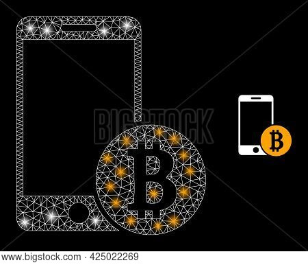 Glamour Mesh Vector Mobile Bitcoin Payment With Glare Effect. White Mesh, Glare Spots On A Black Bac