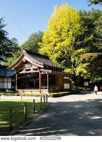 Kofu, Yamanashi Prefecture, Japan - October 26, 2017: Early Autumn On The Grounds Of Takeda Shrine,