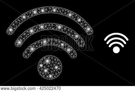 Magic Mesh Vector Wi-fi Source With Glare Effect. White Mesh, Bright Spots On A Black Background Wit
