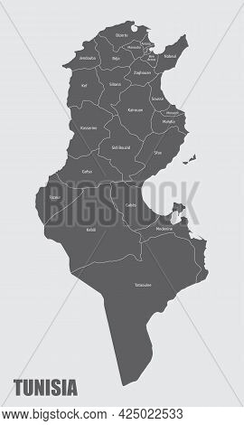 The Tunisia Administrative Map Divided In Provinces With Labels