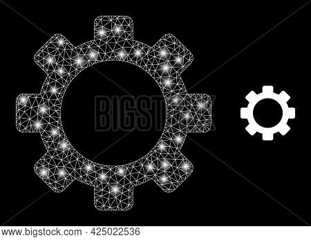 Magic Mesh Vector Cog With Glare Effect. White Mesh, Glare Spots On A Black Background With Cog Icon