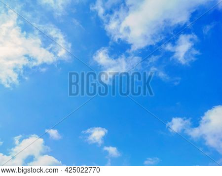 Blue Sky With White Clouds Background.  Pastel Blue Sky Background. Concept Of New Life Beginning, F