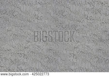 Gray Ruff Plaster Texture - Close-up Of A Freshly Plastered Wall