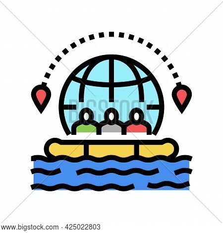 Rafting Tourism Color Icon Vector. Rafting Tourism Sign. Isolated Symbol Illustration