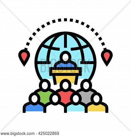 Congress Tourism Color Icon Vector. Congress Tourism Sign. Isolated Symbol Illustration