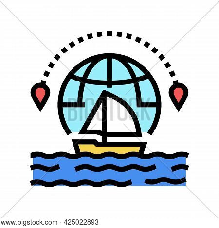 Yacht Tourism Color Icon Vector. Yacht Tourism Sign. Isolated Symbol Illustration
