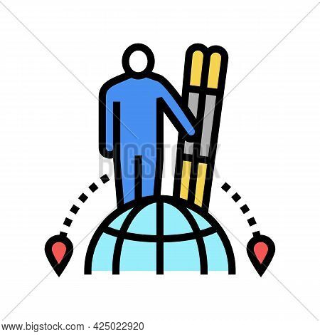 Ski Tourism Color Icon Vector. Ski Tourism Sign. Isolated Symbol Illustration