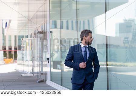 Mature Businessperson In Formalwear. Successful Man Boss In Businesslike Suit.