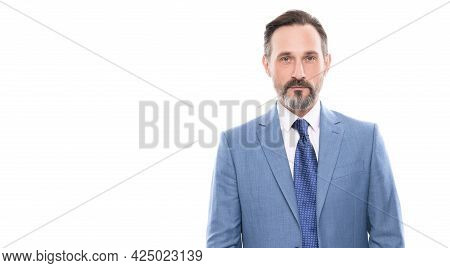 Mature Grizzled Entrepreneur In Businesslike Suit Isolated On White Copy Space, Charisma