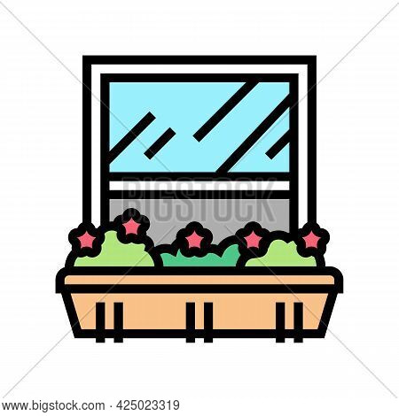 Growing Domestic Plant On Window Sill Pot Color Icon Vector. Growing Domestic Plant On Window Sill P