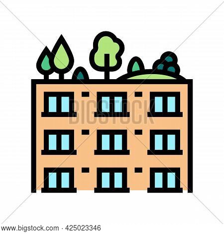 Trees And Bushes On Building Roof Color Icon Vector. Trees And Bushes On Building Roof Sign. Isolate