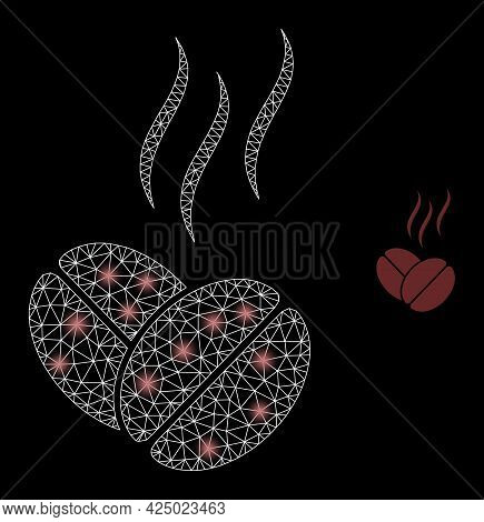 Bright Mesh Vector Coffee Aroma With Glare Effect. White Mesh, Bright Spots On A Black Background Wi