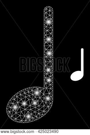 Bright Mesh Vector Musical Note With Glare Effect. White Mesh, Bright Spots On A Black Background Wi