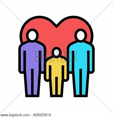 Men Gay Same Sex Couple Adoption Color Icon Vector. Men Gay Same Sex Couple Adoption Sign. Isolated