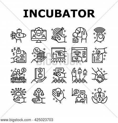 Business Incubator Collection Icons Set Vector. Incubator Education Resource And Training, Marketing