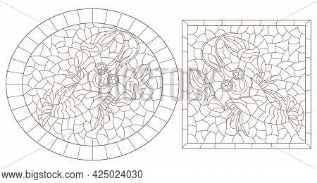 A Set Of Contour Illustrations In The Style Of Stained Glass With Abstract Crayfish, Dark Contours O