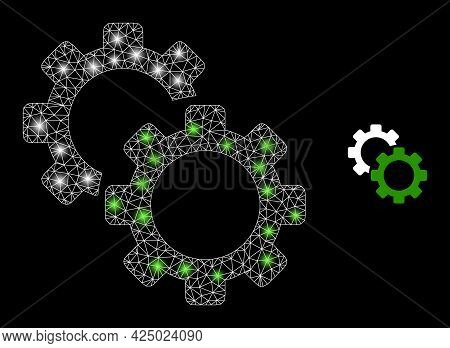 Glamour Mesh Vector Gears With Glow Effect. White Mesh, Flash Spots On A Black Background With Gears