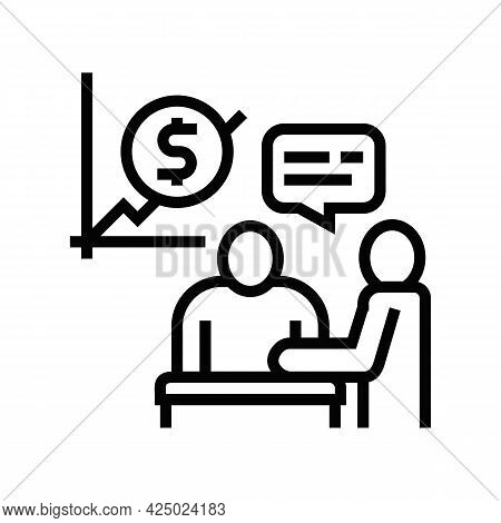 Financial Consultation And Advise Line Icon Vector. Financial Consultation And Advise Sign. Isolated