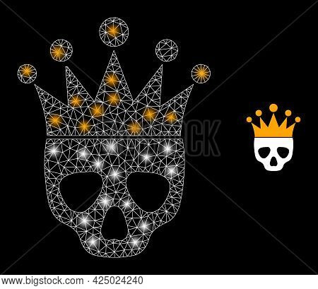 Glossy Mesh Vector Dead King With Glare Effect. White Mesh, Light Spots On A Black Background With D