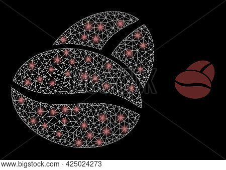 Bright Mesh Vector Coffee Bean With Glare Effect. White Mesh, Bright Spots On A Black Background Wit