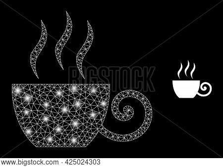 Glamour Mesh Vector Coffee Cup With Glare Effect. White Mesh, Glare Spots On A Black Background With