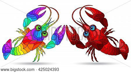 A Set Of Illustrations In The Style Of Stained Glass With Abstract Crayfish, Animals Isolated On A W
