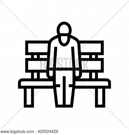 Elderly Man Sitting On Bench Line Icon Vector. Elderly Man Sitting On Bench Sign. Isolated Contour S